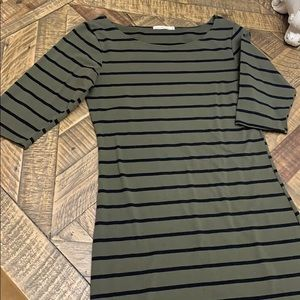 Army green and black line dress size large